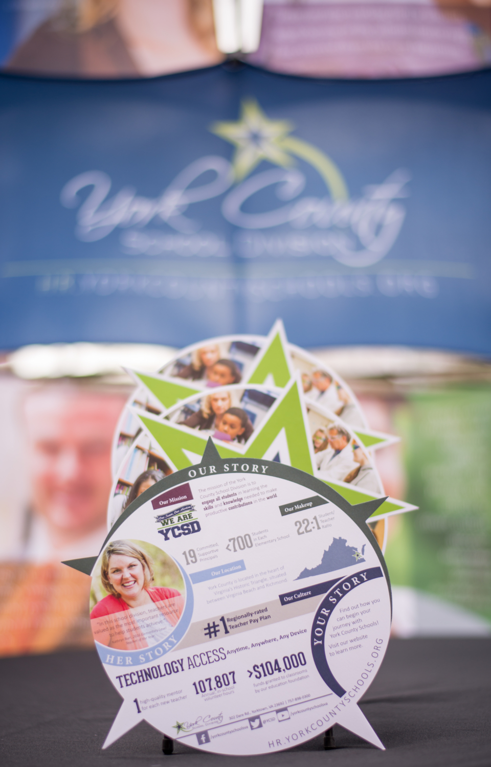 This award-winning campaign utilizes a job fair display, die cut handout, and website togarner more, quality applications for available teaching positions within YCSD. The strategic headers, quotes, and imagery consistently and cohesivelytouch the four main topics teachers are looking for in a school division: good compensation, helpful and caring administrators, professionaldevelopment opportunities, and an engaged community.